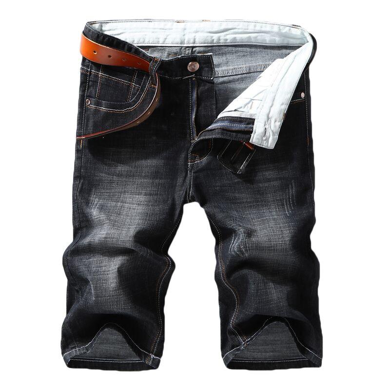 Denim Shorts Jeans Slim-Fit Elastic-Force Brand-Clothing Black New-Style Summer Blue