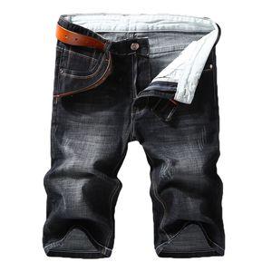 Image 1 - 男性デニムショートパンツ 2020 夏新スタイル薄肉弾性力スリムフィットショートジーンズ男性ブランド衣料黒青