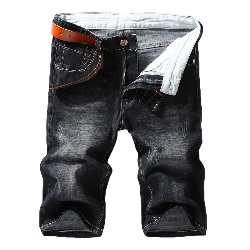 Men Denim   Shorts   2019 Summer New Style Thin Section Elastic Force Slim Fit   Short   Jeans Male Brand Clothing Black Blue