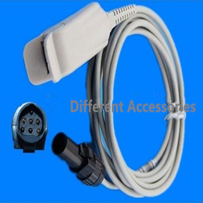 Frete Grátis Compatível Para NOVAMETRIX 660-940 Spo2 7Pin Adulto FingerClip Sensor De Oximetria De Pulso Spo2 Sonda Sensor De Oxigênio TPU 3 M