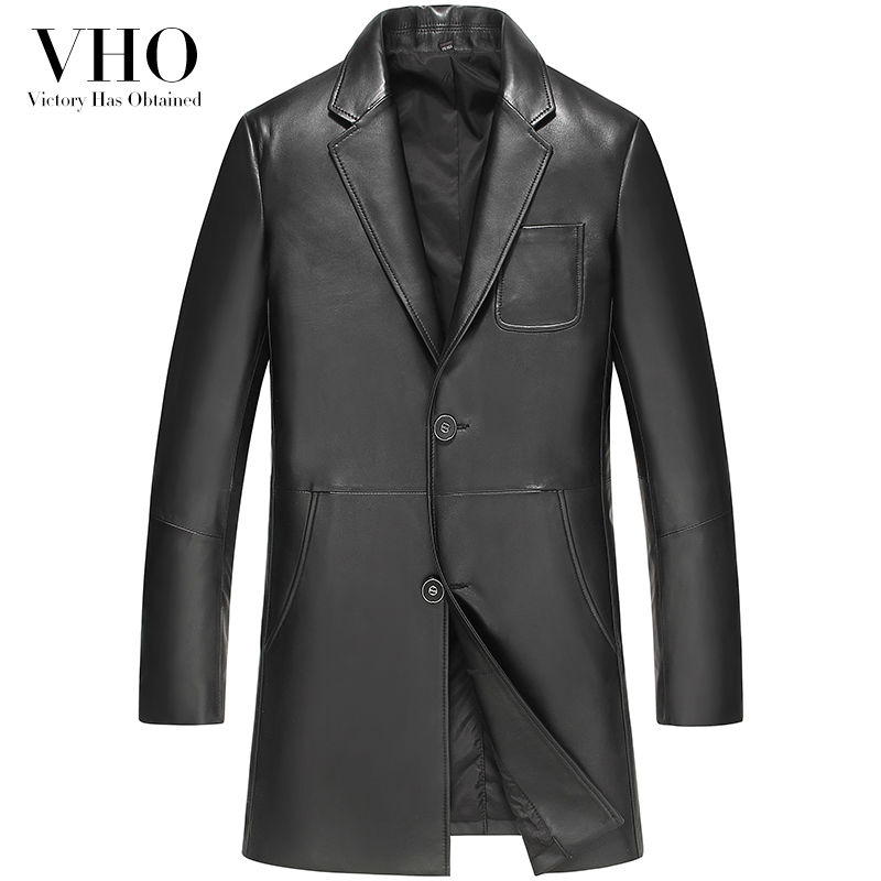 VHO 2017 new genuine leather jacket men's medium long sheepskin clothing turn-down collar slim casual leather coats VF1617