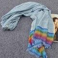 Fashional Warmstriped lenço No Pescoço do Envoltório Do Lenço Das Mulheres Lenços de Inverno Mulheres Capa Multicolor Rainbow Lenços b26