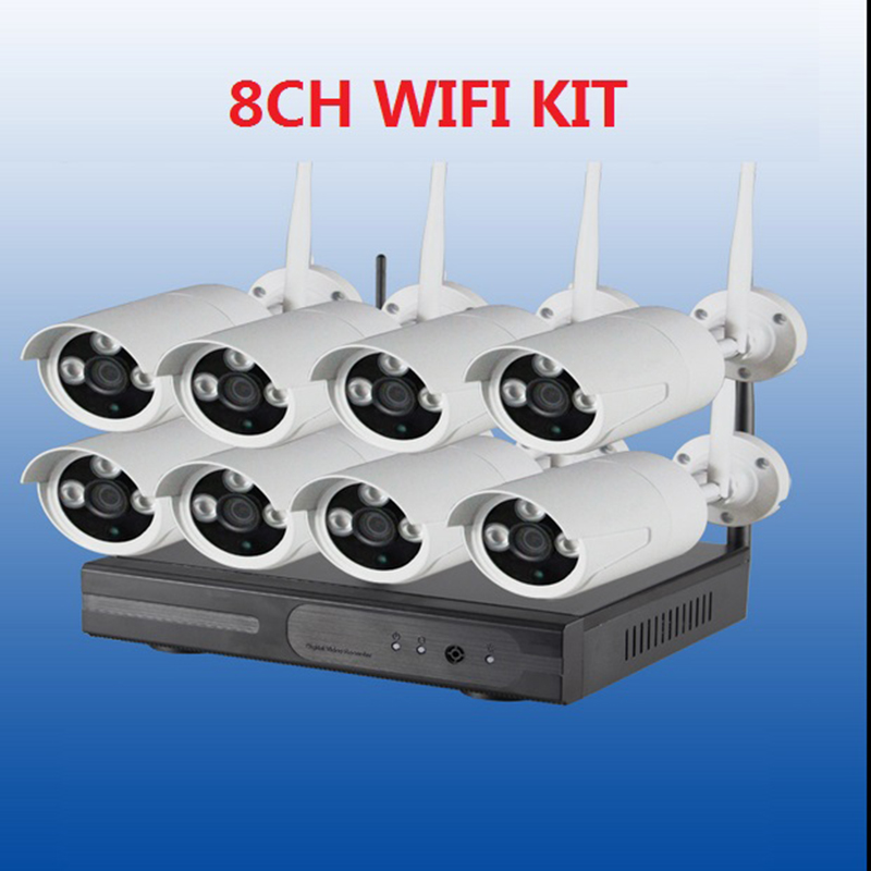 CCTV System Security Camera 8CH Wireless 720P NVR Kit 8 Outdoor/Indoor 1.0MP IP Cameras  Video Push 3G Wifi P2P Onvif 8ch nvr kit 720p 3 6mm waterproof outdoor onvif ir ip camera 1 0mp and 8ch 1080p 720p nvr for cctv security system free shipping