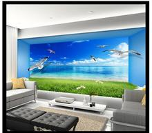 Free shopping 2015 New  The sitting room TV setting wall is beautiful sea view 3 d space wallpaper