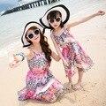 2017 summer new mother daughter dresses seaside beach resort trip harness dress