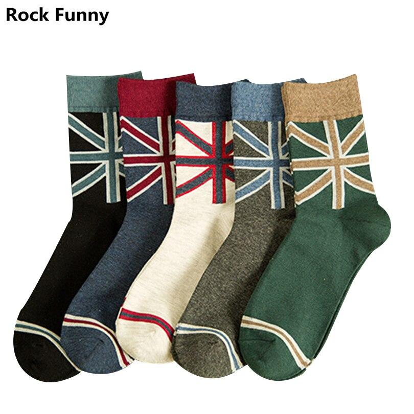 2018 autumn winter Fashion Mens Cotton Socks Colorful cotton Art Socks stripe casual Socks Mens Dress Sock