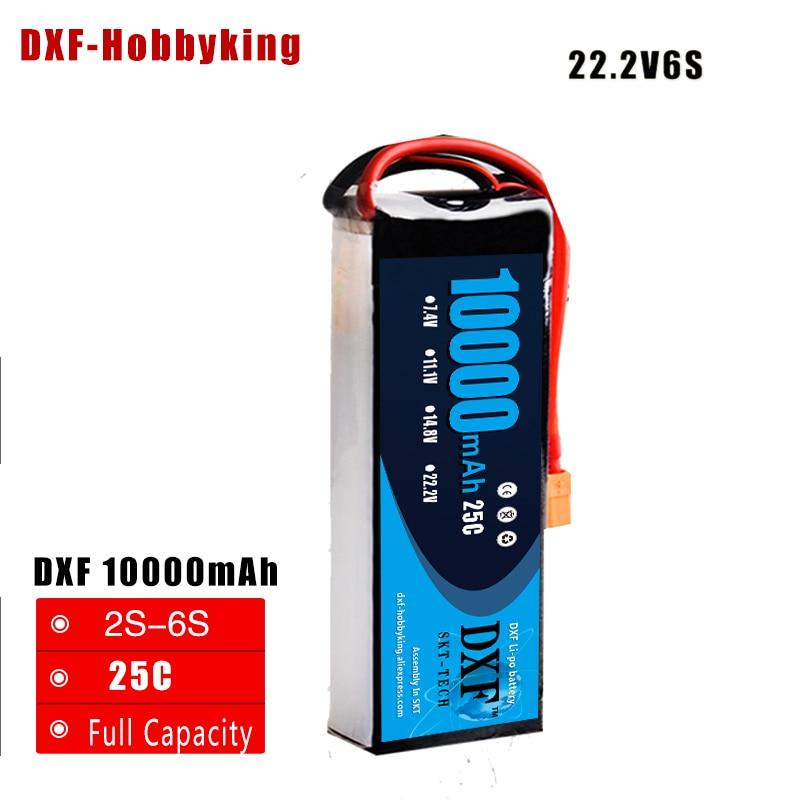 2017 DXF Lipo Battery Kudian 6S 22.2V 10000MAH 25C-50C RC AKKU Bateria for Airplane Helicopter Boat FPV Drone UAV Free ship 1s 2s 3s 4s 5s 6s 7s 8s lipo battery balance connector for rc model battery esc