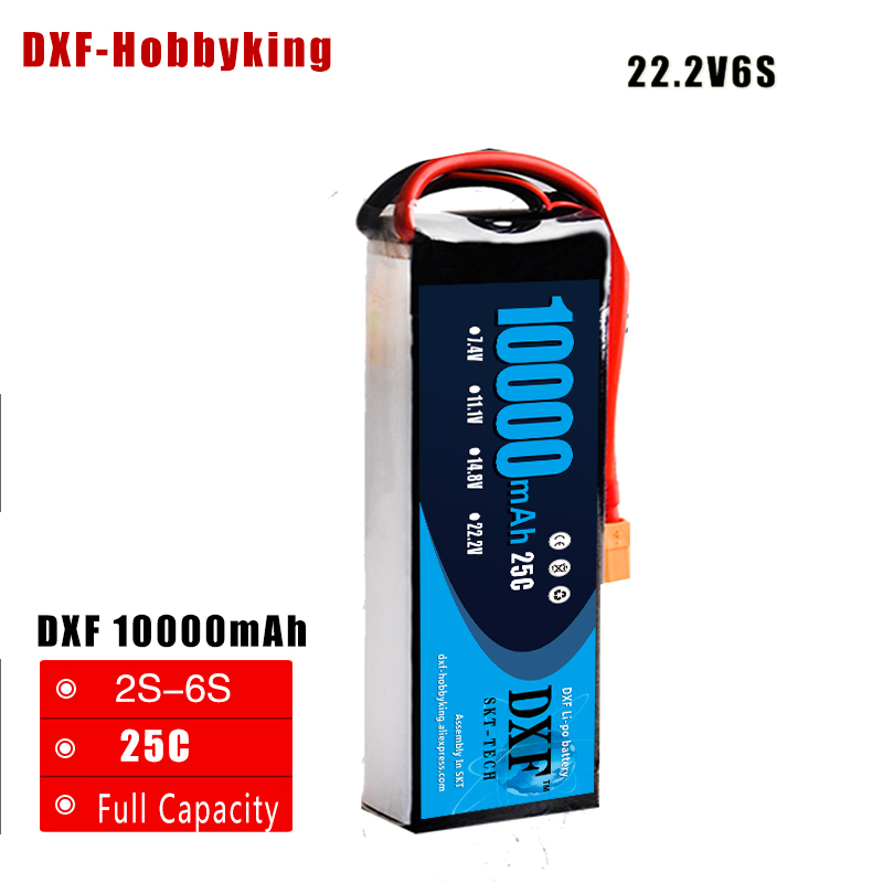 2017 DXF Lipo Battery Kudian 6S 22.2V 10000MAH 25C-50C RC AKKU Bateria for Airplane Helicopter Boat FPV Drone UAV Free ship image