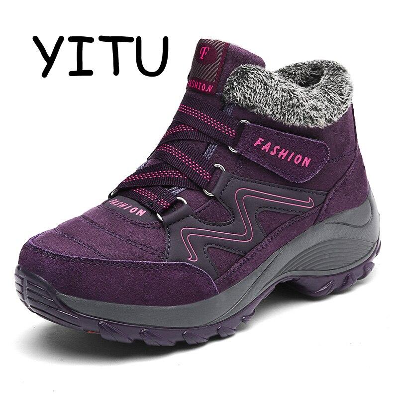 YITU Plush Warm Winter Hiking Boots Women Waterproof Mountain Hiking Shoes Breathable Walking Leather Trail Sneakers Female sneakers