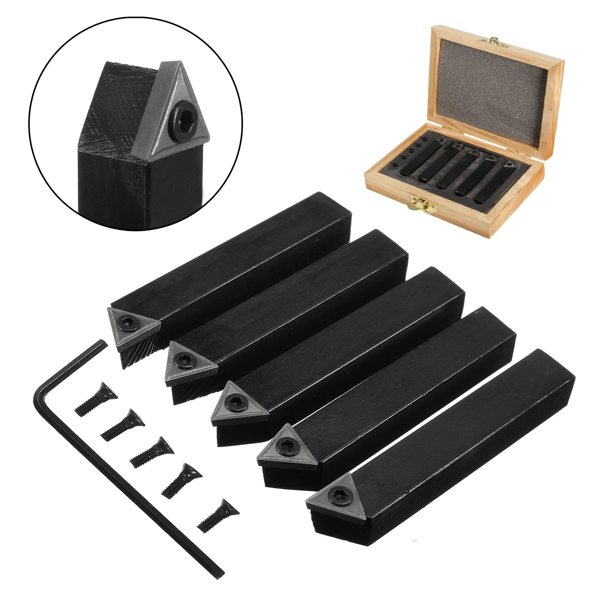 5Pcs 8mm(5/16) Indexable Carbide Tipped Lathe Cutter Tool Set For CNC Machine Style A B E Drop Forged with Indexable Tungsten 5pcs set new 3 8 tip carbide indexable turning tool set mayitr good hardness precision insert lathe tool bit
