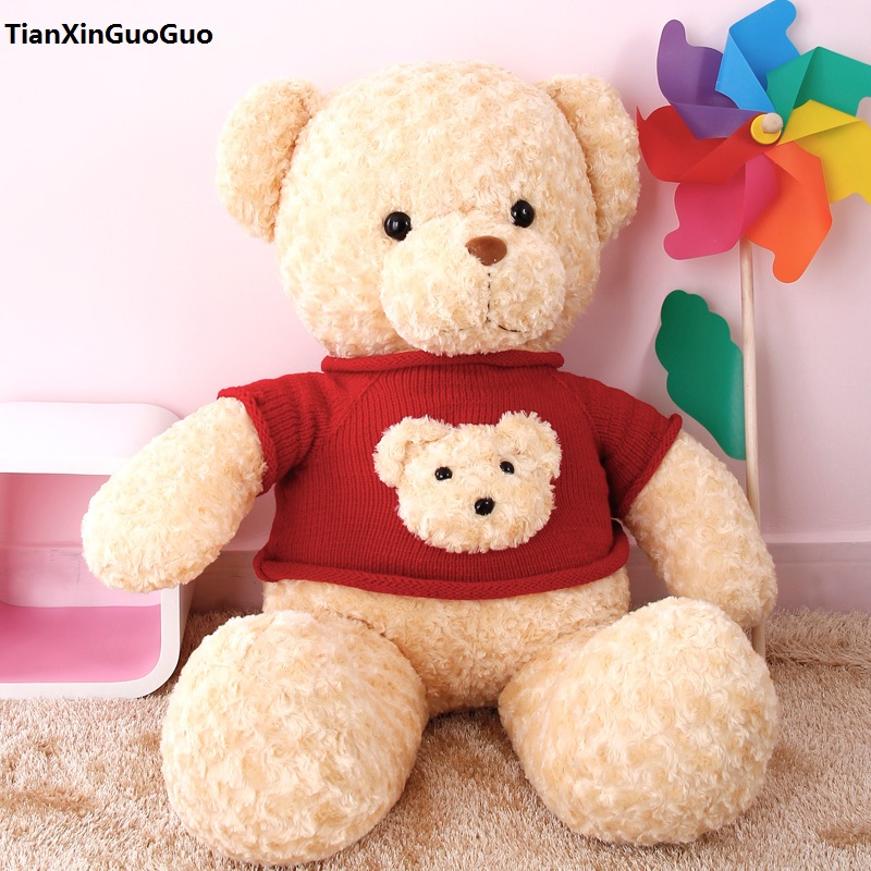 large 80cm stuffed Teddy bear dressed red sweater bear plush toy soft throw pillow birthday gift b2978 2017 new 160cm big giant sweater tactic plush stuffed toy teddy bear soft bears baby girl doll birthday gift pillow llf