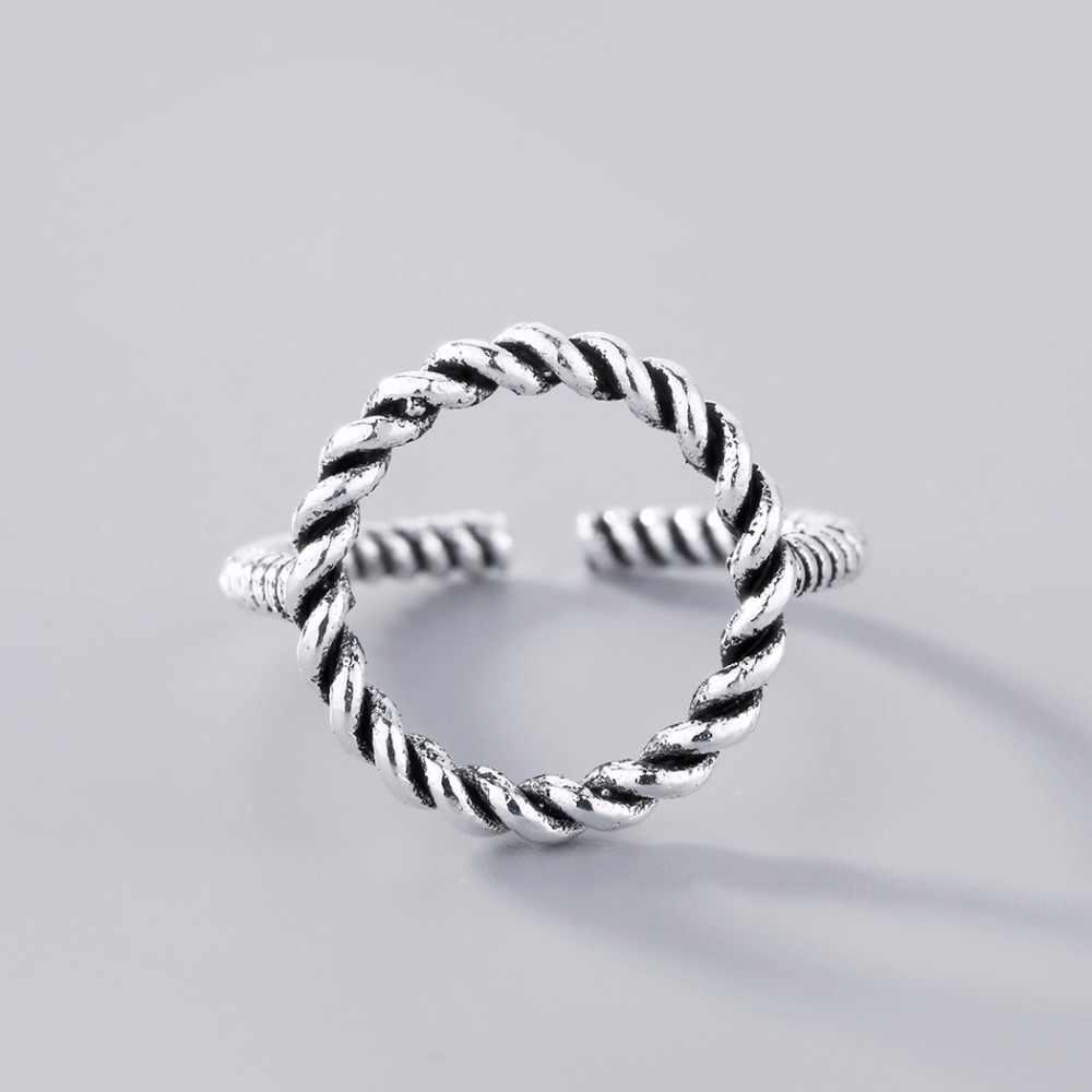 แฟชั่น Twisted karma รอบแหวนเครื่องประดับเปิดหกเหลี่ยมแหวน Retro แหวนหมั้นงานแต่งงาน Bijoux