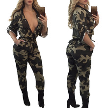 2019 New Arrival  Jumpsuits Full Length Military Regular Print Tassel Broadcloth Jumpsuits, Playsuits & Bod