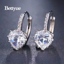 Bettyue Brand Fashion Cute Wholesale High Quality Zircon Multicolor Elegant Hearts Shape Jewelry Earrings For Woman Party Gifts(China)