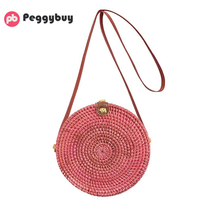 Retro Women Straw Shoulder Crossbody Handbags Girls Circle Casual Summer Beach Vintage Rattan Bag Lady Travel Small Clutch Bags fabric bags shoulder straw summer of women fabric crossbody bags canvas jute beach travel bag