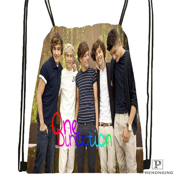 Custom One Direction@01-  Drawstring Backpack Bag Cute Daypack Kids Satchel (Black Back) 31x40cm#180611-01-39