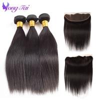 Indian Raw Straight Hair Bundles With Closure Human Hair Lace Frontal 3 Bundles Remy Hair Extension 4Pcs Free Shipping YuYongtai