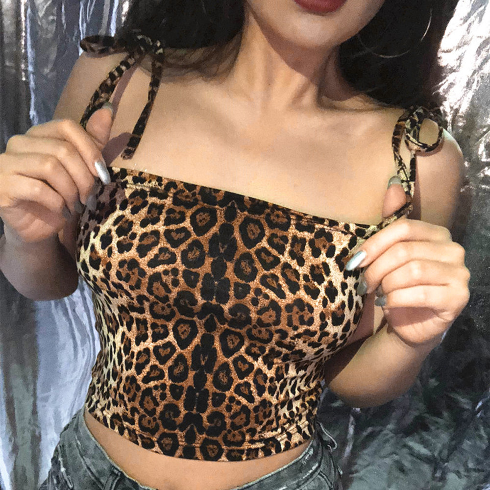 Feitong Leopard Print HALTER Vest Tank-Tops Camisole Croptop Sexy Casual Fashion Womens