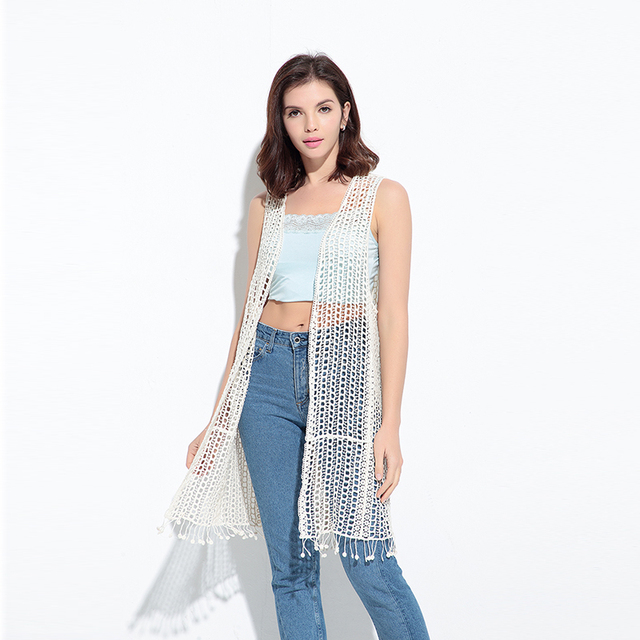 87e355c3c29 Boho See Through Long Cardigan Crochet Blouse tassel Women summer Sleeveless  Tunic Blusas Beach Vest cover up tops