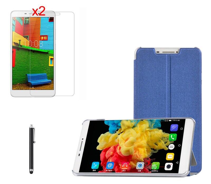 Luxury 2-Folder Stand Silk Print PU Leather Case Cover+2*Matte Film+Stylus For Lenovo PHAB 6.98 PB1-750 PB1-750N PB1-750M Tablet