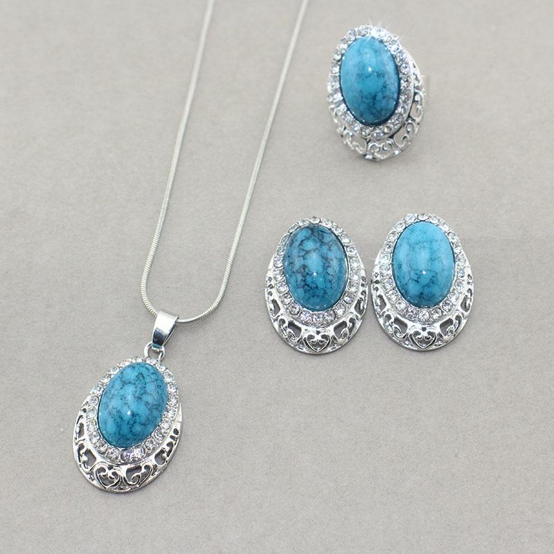 Fashion wedding jewelry set Africa Retro Turquoise Pendant ...