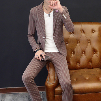Spring Summer Suits for Men Korean Fashion Slim Striped Wedding Groomsman Dresses Small Suits Two Piece Set Dress Suits Male