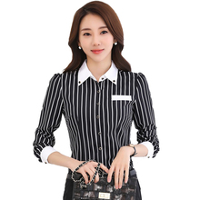 Women's Shirt Black and White Vertical Striped Shirt Female Long Sleeved Doll Collar Slim OL Ladies Office Professional Shirt vertical striped flower embroidered frill shirt
