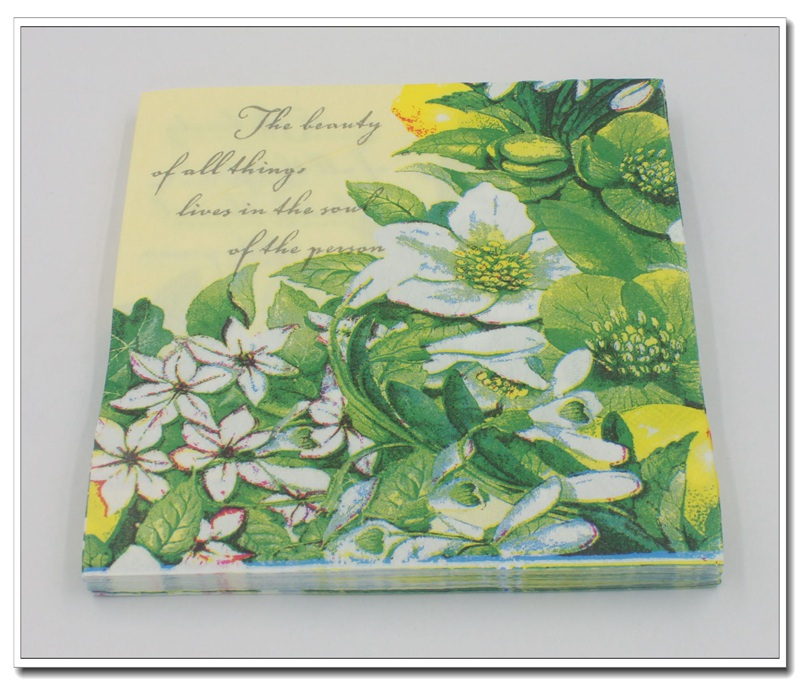 [RainLoong] Green Floral Paper Napkin With <font><b>Bee</b></font> Flower Event & <font><b>Party</b></font> Tissue Napkin <font><b>Supply</b></font> Decoration 33*33cm 5packs image