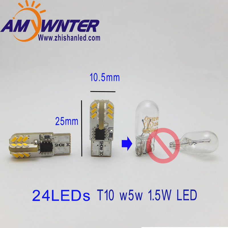 AMYWNTER W5W LED T10 3014 lampu kereta 194 Turn Licensed License Plate Light Trunk Lampu Lampu Clearance Membaca Lampu 12V Putih Merah