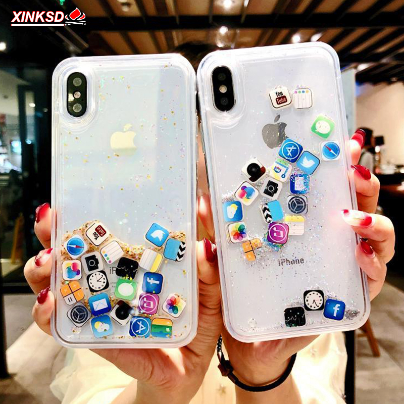 Quicksand Capinha Case For iPhone 7 7Plus 6 6s 8 8 Plus Dynamic Liquid Hard PC Case For iPhone 5 s SE X XR XS Max App Capa ipone image