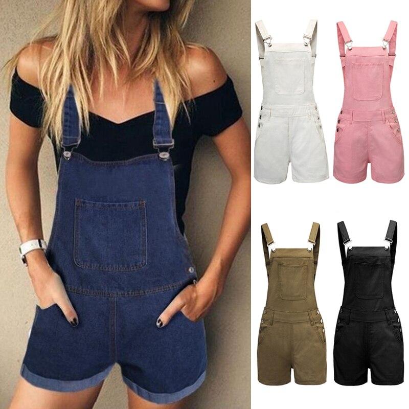 Jeans   jumpsuit   women 2019 loose summer women's denim bib pants casual plus size short pants woman jean strap pullovers   jumpsuit
