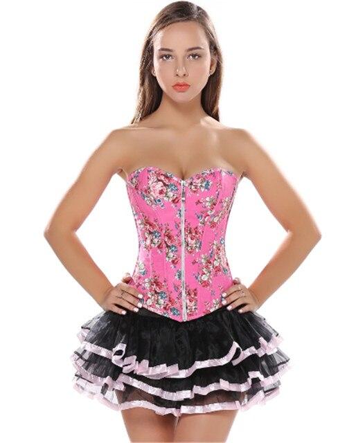 ab111af089206 pink Floral SEXY corset Jeans Print Jacquard zipper Lingerie and mini tutu  skirt showgirl dance dress