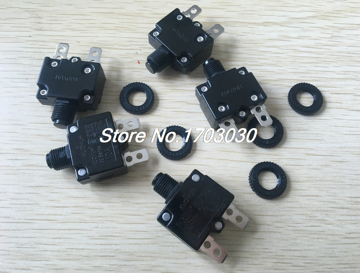 10 pcs 10A amp RESET BUTTON FUSE thermal overload fuse