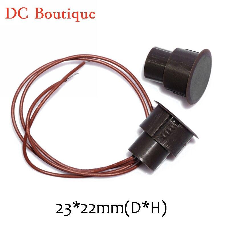 imágenes para (10 pares) D * H 23*22mm de Color Marrón Con Cable Magnético de Salida de Relé NC montaje Oculto Interruptor de La Alarma de Puerta Abierta imán Del Sensor