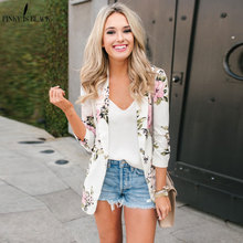 PinkyIsBlack Spring Elegant Blazer Feminino Women Floral Long Sleeve Notched Collar Coat Female Outerwear