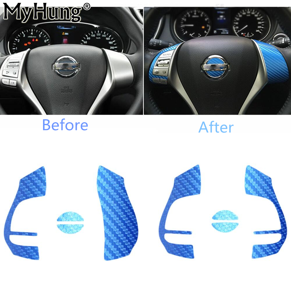 For Nissan Xtrail 2014 Steering Wheel Center Sticker The Carbon Fiber And Frosted Flash Car Stickers Car Accessories 1PC