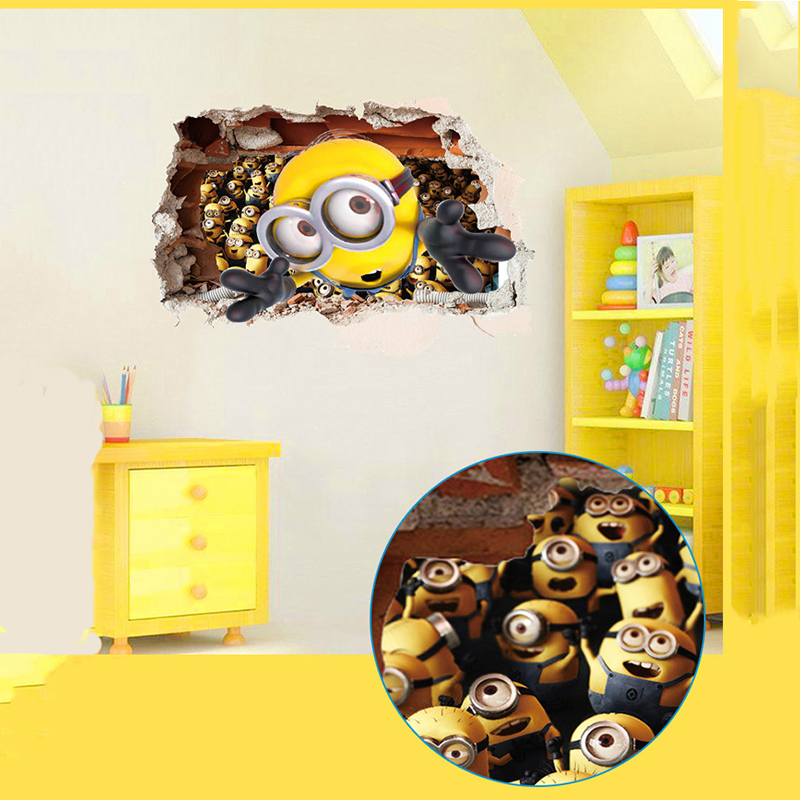 Cartoon 3D Small Yellow People Wall Stickers Children\'s Room ...
