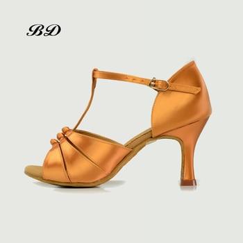 BD 2303 Dance Shoes Ballroom Women Latin shoes Dancing Shoe Sandals High Heels 7.5CM Sweaty Insole Durable Knot Uppers Sandals