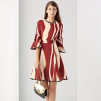2017 Summer New High Quality Black Red With Beige Striped Silk Plus Size Women S Dresses
