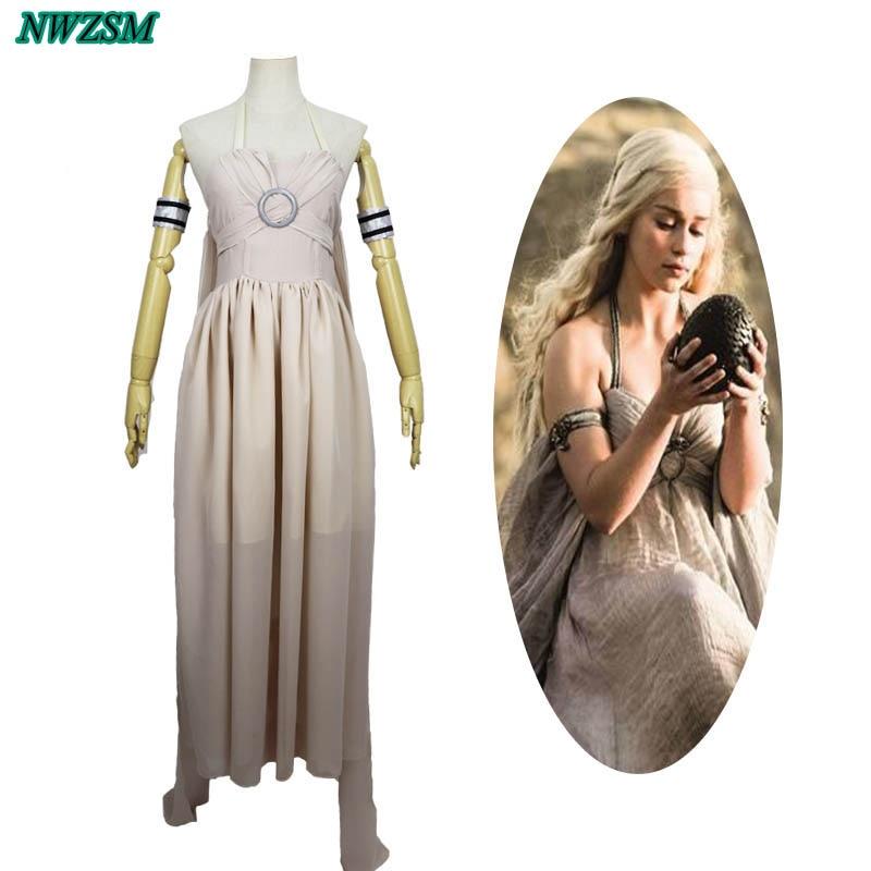 New Daenerys Targaryen Mother Of Dragons Costume Game Of Thrones Movie White Fancy Dress For Women Halloween Cosplay Costume