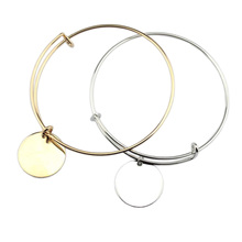 2018 Zinc Alloy Adjustable Wire Round Disc Charm Monogram Personalized Bracelets Bangles for Women Jewelry pulseiras
