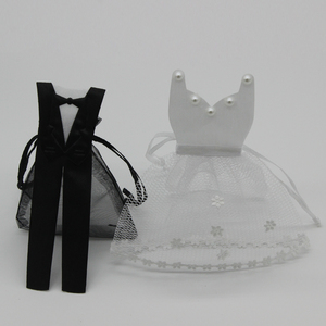 Image 3 - 50 Pieces Organza Drawstring Candy Bag 25* Tuxedo &  25* Dress Bride Groom Wedding Favors Party Gift Bag WB06
