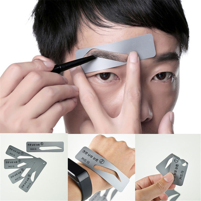 Men 5 Styles Brow Drawing Guide Eyebrow Template Make Up Tools Grooming Stencil Eyebrow Thrush Card High Quality