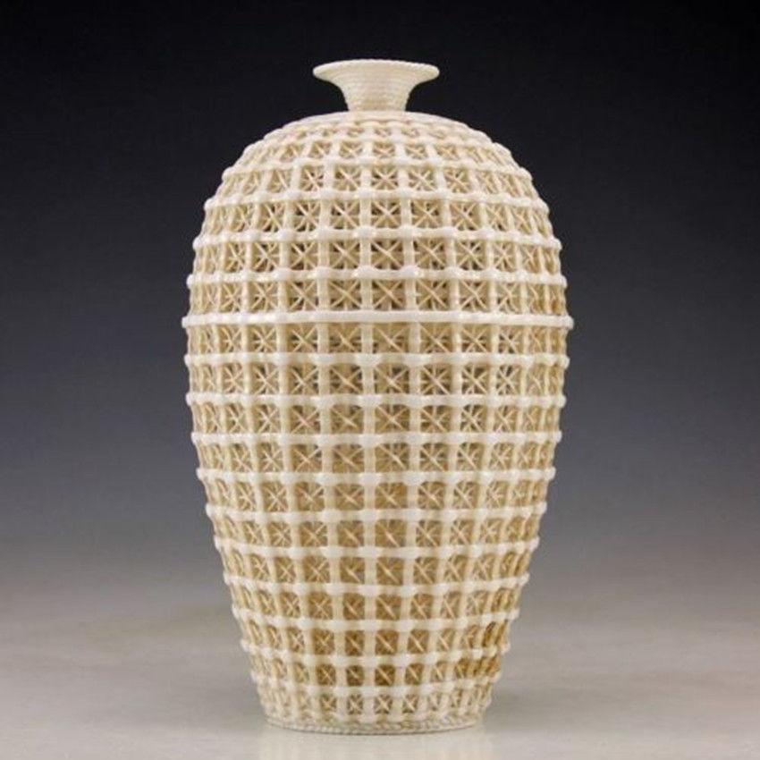 Elaborate Vintage Handwork Chinese Dehua Porcelain Hollow-out  - Home Decor