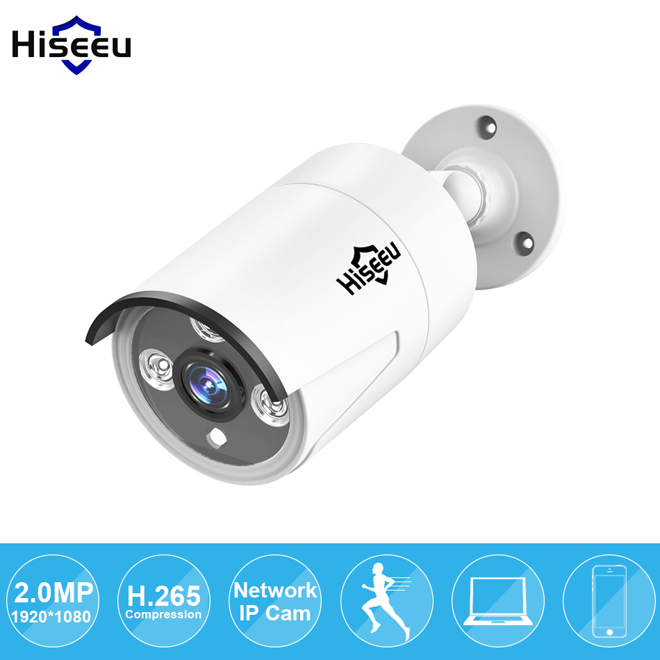 Hiseeu HD POE 1080P 2.0MP Mini Bullet WDR IP Camera ONVIF 2.0 Waterproof Outdoor IR CUT Night Vision P2P Remote IP66 HB612 hd 1 3mp ip camera ptz bullet 4x zoom 960p hd project night vision outdoor waterproof ircut onvif p2p onvif poe hiseeu