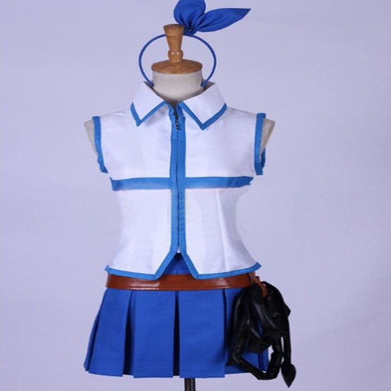 Queue de fée Lucy coeur filia Anime Cosplay Costumes Cosplay Costumes Patchwork bleu t-shirt sans manches/jupe/casque/taille/fouet