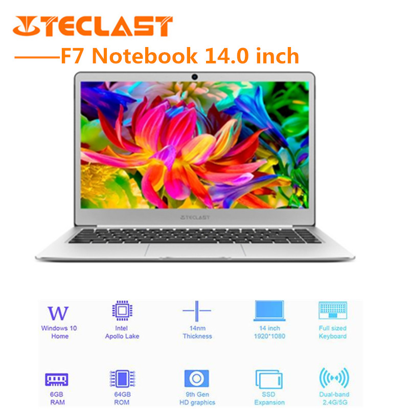 Teclast F7 Notebook 14.0'' Windows10 Intel Celeron N3450 QuadCore 1.1GHz BT4.2 6GB RAM 128GB SSD Laptop English Version EU Plug