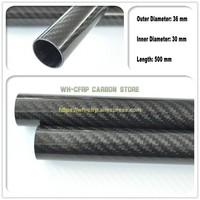 36mm ODx 30mm ID Carbon Fiber Tube 3k 500MM Long (Roll Wrapped) carbon pipe , with 100% full carbon, Japan 3k improve material