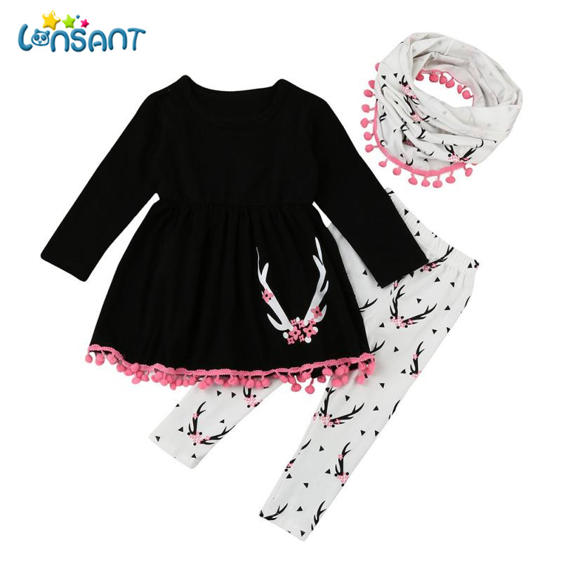 3aeab0ee771a1 Detail Feedback Questions about LONSANT Clothing Sets Conjunto Menina  Fashion Print Tops + Pants + Scarf 3 Pcs Casual Cotton Vestido Infantil  Dropshipping ...