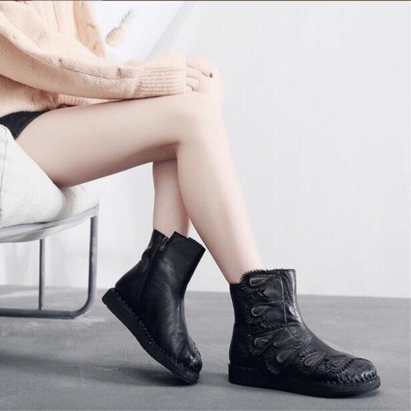 Véritable En Zxryxgs Mode 2018 Mou Casual Plat rouge Nouveau Cuir Marque Femmes Fond Chaussures Bottes Confort Automne Noir Pleine NvwO8nm0